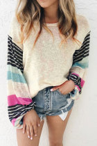 Roselypink O Neck Patchwork Apricot Sweaters