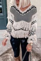 Roselypink Tassel Design White Sweater