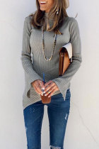 Roselypink Striped Asymmetrical Grey Sweaters