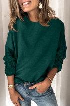 Roselypink O Neck Basic Green Sweater