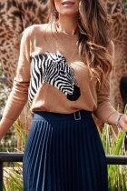 Roselypink Zebra Light Tan Sweater