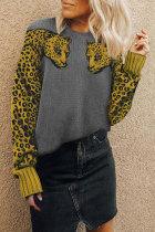Roselypink Leopard Patchwork Grey Sweater