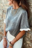 Roselypink Lace Patchwork Grey Sweater