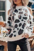 Roselypink Leopard Cold Shoulder White Sweater (2 Colors)