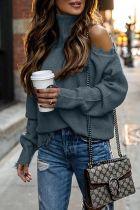 Roselypink Turtleneck Cold Shoulder Grey Sweater (2 Colors)