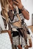Roselypink Buttons Down Leopard Print Patchwork Shirt Mini Dress