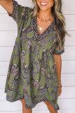 Roselypink V Neck Printed Green Mini Dress