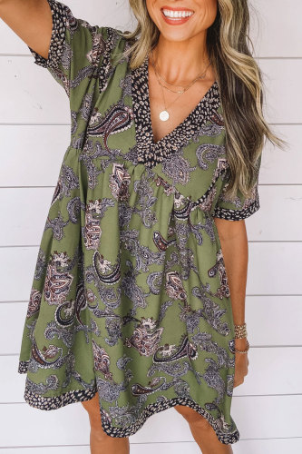 Roselypink V Neck Printed Green Mini Dress