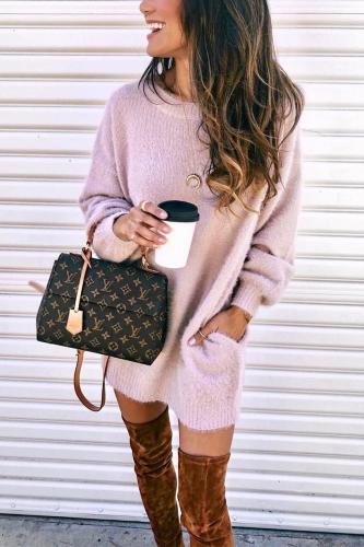 Roselypink Fleece Sherpa Pink Mini Dress