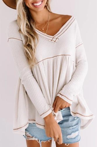 Roselypink Babydoll Loose Fold Design White T-shirt