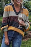 Roselypink Color Block V Neck Patchwork Yellow Sweater