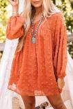 Roselypink Spot On Babydoll Dot Loose Orange Mini Dress