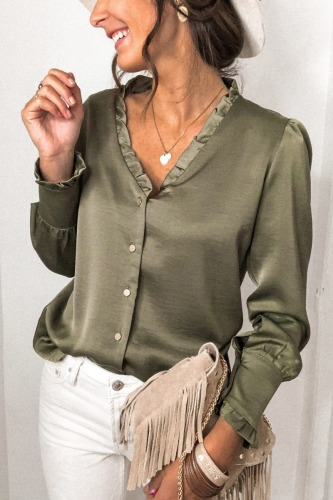 Roselypink V Neck Buttons Down Green Blouse