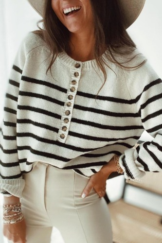Roselypink Striped Buttons Down Black Sweater