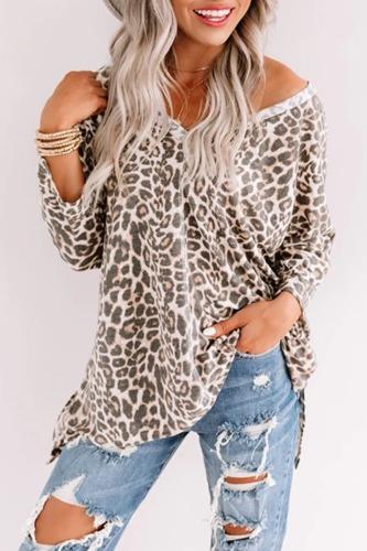 Roselypink V Neck Leopard Printed White T-shirt
