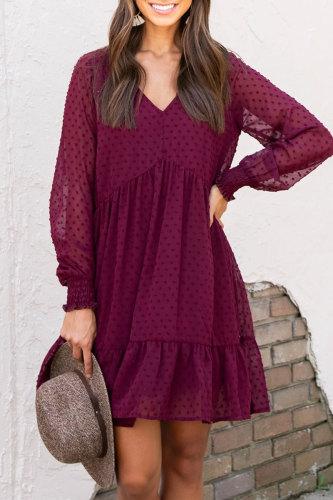 Roselypink V Neck Flounce Design Wine Red Mini Dress