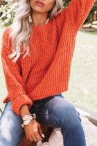 Roselypink Knit Loose Orange Sweater