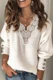 Roselypink V Neck Lace Patchwork White Sweater
