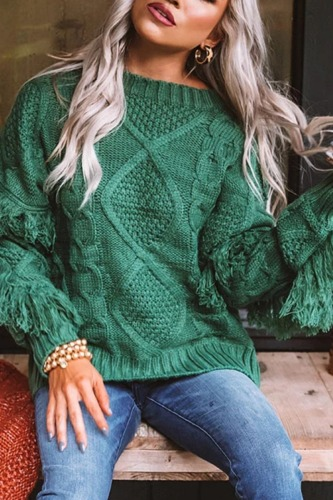 Roselypink Vintage Tassel Design Green Sweater