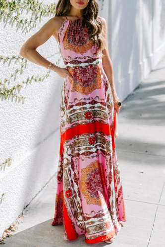 Roselypink Print Red Maxi Dress