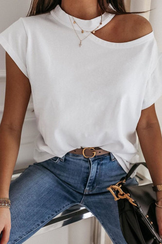 Roselypink Hollow-out White T-shirt
