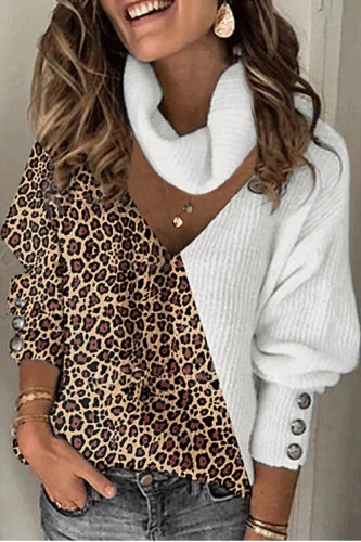 Roselypink Turtleneck Leopard Printed Patchwork Brown Sweater