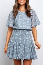 Roselypink Floral Print Blue Mini Dress