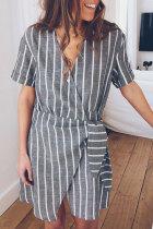 Roselypink Striped Grey Mini Dress