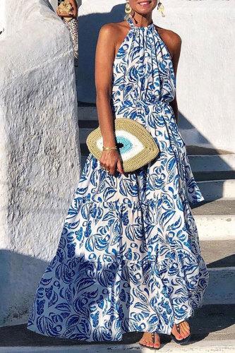 Roselypink Print Blue Maxi Dress