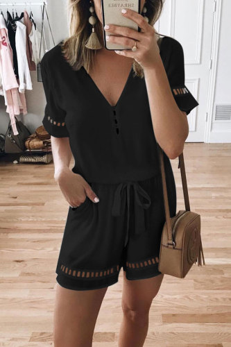 Roselypink V Neck Hollow-out Lace-up Black One-piece Romper
