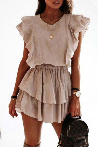 Roselypink Flounce Design Beige Mini Dress