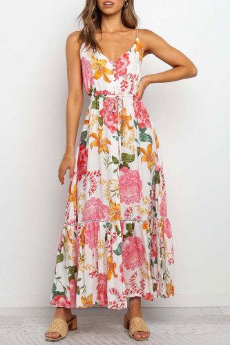 Roselypink Print Red Ankle Length Dress