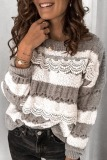 Roselypink Lace Striped Patchwork Grey Sweater