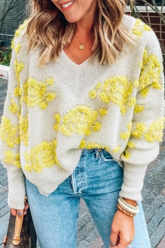 Roselypink V Neck Floral Yellow Sweater