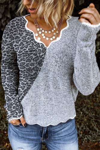 Roselypink V Neck  Leopard Printed Patchwork Grey Sweater