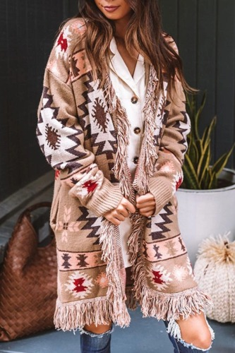 Roselypink Print Tassel Design Light Tan Cardigan