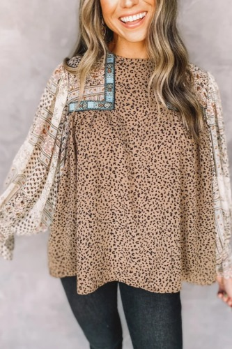 Roselypink Leopard Printed Patchwork Light Camel Blouse