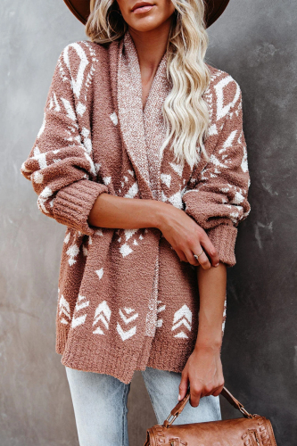 Roselypink Boho Printed Loose Light Tan Cardigan