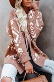 Roselypink Boho Printed Loose Light Tan Cardigan