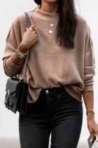 Roselypink Basic Loose Brown Sweater