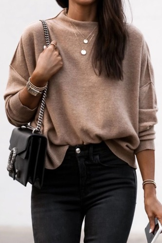 Roselypink Basic Loose Brown Sweater