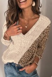 Roselypink V Neck Leopard Patchwork Khaki Sweater