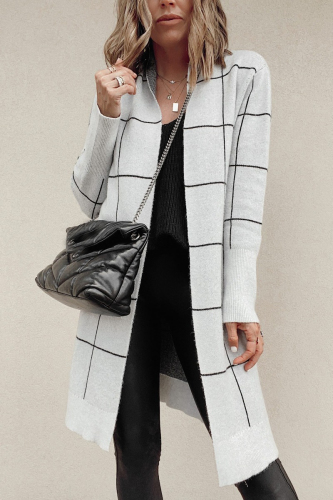 Roselypink Plaid Grids Grey Cardigan