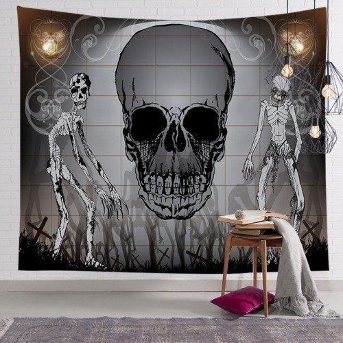 Roselypink Chic Skull Print Black Table Linens