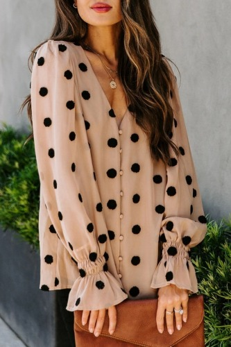 Roselypink V Neck Dot Print Light Camel Blouse