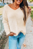 Roselypink V Neck Basic Solid Apricot Sweater