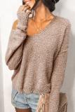 Roselypink V Neck Solid Khaki Sweater