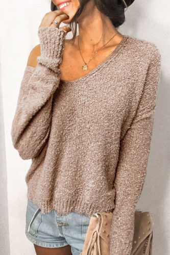 Roselypink V Neck Solid Khaki Sweater