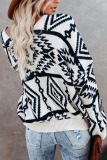 Roselypink V Neck Geometric Printed Black Sweater