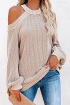 Roselypink Cold Shoulder BeigeSweater